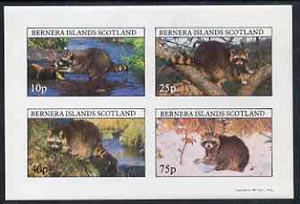 Bernera 1981 Racoons imperf  set of 4 values complete (10p to 75p) unmounted mint
