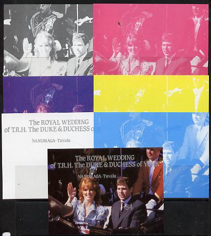 Tuvalu - Nanumaga 1986 Royal Wedding (Andrew & Fergie) $4 m/sheet set of 7 imperf progressive colour proofs comprising the 5 individual colours plus 2 composites unmounted mint