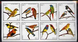 Iso - Sweden 1977 Birds (Red Bishop, Weaver, Cuban Finch, etc) imperf set of 8 values (20 to 350) unmounted mint