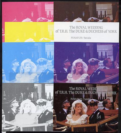 Tuvalu - Funafuti 1986 Royal Wedding (Andrew & Fergie) $4 m/sheet set of 8 imperf progressive colour proofs comprising the 5 individual colours plus 3 composites unmounted mint
