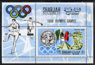 Sharjah 1968 Olympics (Medal, Mexican Art & Flag) perf m/sheet unmounted mint (Mi BL 41A)