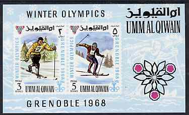 Umm Al Qiwain 1968 Grenoble Winter Olympic Games imperf m/sheet unmounted mint, Mi BL12