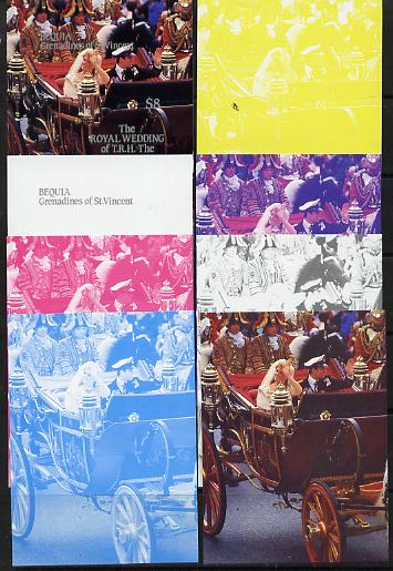 St Vincent - Bequia 1986 Royal Wedding $8 m/sheet set of 8 imperf progressive colour proofs comprising the 5 individual colours plus 3 composites unmounted mint