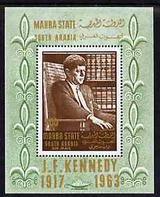 Aden - Mahra 1967 Kennedy perf m/sheet unmounted mint, Mi BL 1A