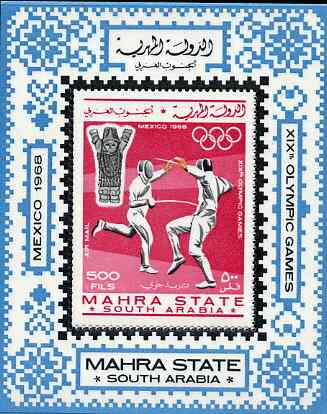 Aden - Mahra 1967 Mexico Olympics perf m/sheet (Fencing) unmounted mint Mi BL 2A
