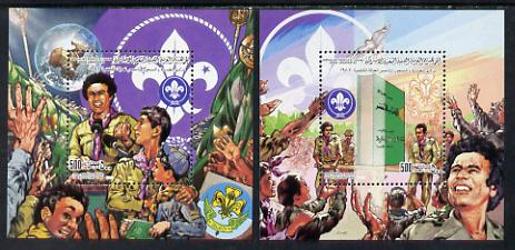 Libya 1982 75th Anniversary of Scouting set of two 500dh m/sheets unmounted mint (SG MS 1177) Mi BL 59A & 60A