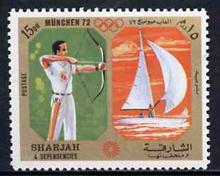 Sharjah 1972 Archery & Sailing (15Dh) from Olympic Sports perf set of 10 unmounted mint, Mi 944