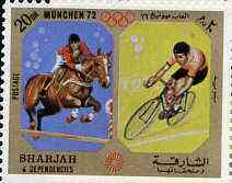 Sharjah 1972 Show Jumping & Cycling (20Dh) from Olympic Sports perf set of 10 unmounted mint, Mi 945