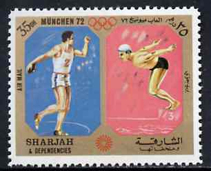 Sharjah 1972 Discus & Diving (35Dh) from Olympic Sports perf set of 10 unmounted mint, Mi 947