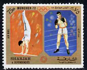Sharjah 1972 Gymnastics & Boxing (75Dh) from Olympic Sports perf set of 10 unmounted mint, Mi 948