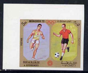 Sharjah 1972 Football & Running (5Dh) from Olympic Sports imperf set of 10 unmounted mint, Mi 942B