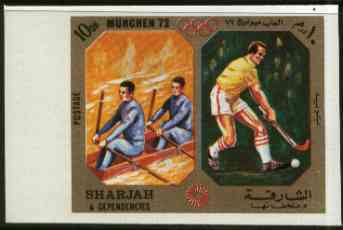 Sharjah 1972 Rowing & Field Hockey (10Dh) from Olympic Sports imperf set of 10 unmounted mint, Mi 943B