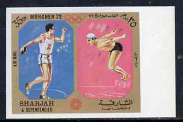 Sharjah 1972 Discus & Diving (35Dh) from Olympic Sports imperf set of 10 unmounted mint, Mi 947B