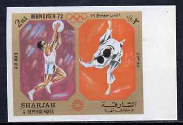 Sharjah 1972 Basketball & Judo (2R) from Olympic Sports imperf set of 10 unmounted mint, Mi 950B