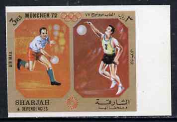 Sharjah 1972 Handball & Volleyball (3R) from Olympic Sports imperf set of 10 unmounted mint, Mi 951B