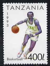 Tanzania 1993 Basketball 400s from Summer Sports set of 7 unmounted mint, SG 1512,  Mi 1473