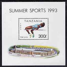 Tanzania 1993 High Jump 300s m/sheet unmounted mint, SG MS 1513, Mi BL 212