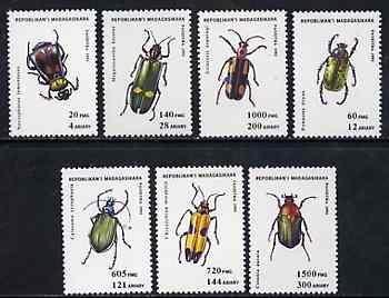 Madagascar 1993 Beetles unmounted mint set of 7, Mi 1656-62*