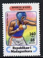 Madagascar 1994 Boxing 140f + 28 from Sports set of 7, Mi 1710 unmounted mint