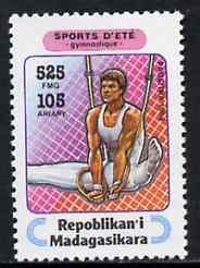 Madagascar 1994 Rings 525f + 105 from Sports set of 7, Mi 1711 unmounted mint, stamps on gymnastics, stamps on  gym , stamps on gymnastics, stamps on
