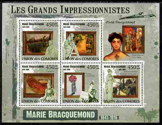 Comoro Islands 2009 The Impressionists - Marie Bracquemond perf sheetlet containing 5 values unmounted mint