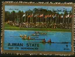 Ajman 1972 Rowing 1R from Munich Olympics perf set of 16, unmounted mint