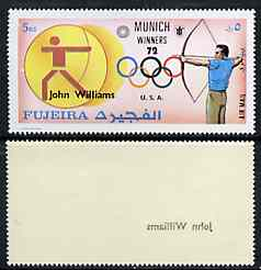 Fujeira 1972 Archery (John Williams) from Olympic Winners set of 25 with superb set-off of 'John Williams' on gummed side, unmounted mint*