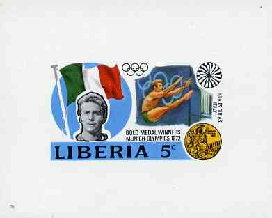 Liberia 1972 Munich Olympics Gold Medal Winners (5c Diving) imperf deluxe miniature sheet (design as SG 1135) unmounted mint