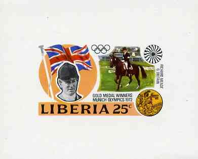 Liberia 1972 Munich Olympics Gold Medal Winners (25c Dressage) imperf deluxe miniature sheet (design as SG 1140) unmounted mint