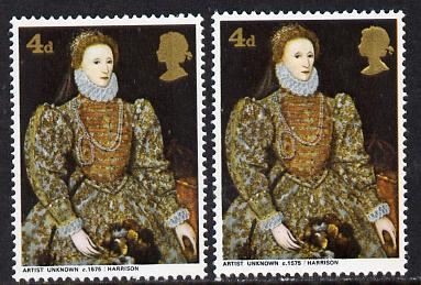 Great Britain 1968 British Paintings 4d (Elizabeth I) with embossing omitted plus normal both unmounted mint (SG 771Ec)