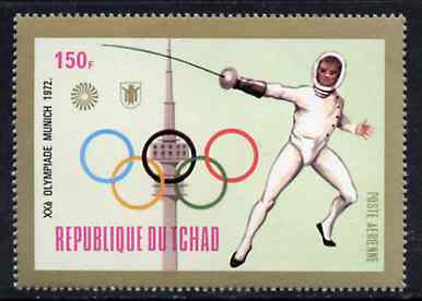 Chad 1972 Fencing 150f from Munich Olympic Games (Gold Frames with Olympic Rings as central design) set unmounted mint*