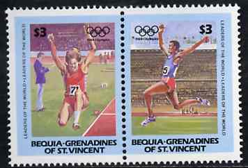 St Vincent - Bequia 1984 Long Jump $3 se-tenant pair from Olympics (Leaders of the World) set of 8  unmounted mint