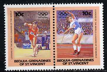 St Vincent - Bequia 1984 Javelin 10c se-tenant pair from Olympics (Leaders of the World) set of 8  unmounted mint