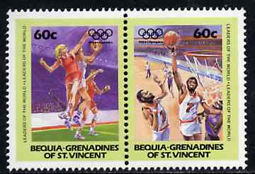 St Vincent - Bequia 1984 Basketball 60c se-tenant pair from Olympics (Leaders of the World) set of 8  unmounted mint