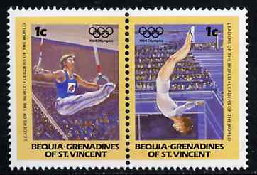 St Vincent - Bequia 1984 Gymnastics 1c se-tenant pair from Olympics (Leaders of the World) set of 8 unmounted mint