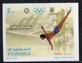 Fujeira 1971 Diving 2r from Munich Olympic Games imperf set of 5 unmounted mint, Mi 748B*
