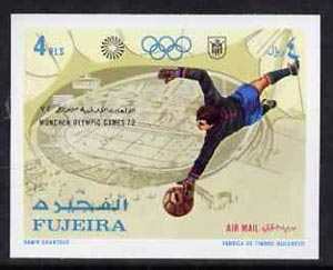 Fujeira 1971 Football 4r from Munich Olympic Games imperf set of 5 unmounted mint, Mi 752B*