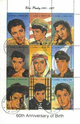 St Thomas & Prince Islands 1995 60th Birth Anniversary of Elvis Presley sheetlet containing complete set of 9 values very fine cto used