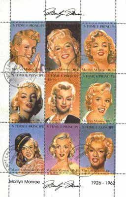 St Thomas & Prince Islands 1997 Marilyn Monroe sheetlet containing complete set of 9 values very fine cto used