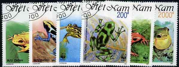 Vietnam 1991 WWF - Frogs set of 6 values (1 x 3000D value) very fine cto used, Mi 2344-49*