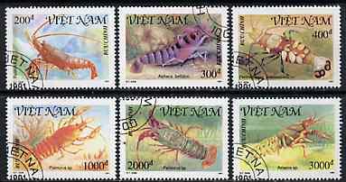 Vietnam 1991 Shellfish set of 6 values (1 x 3000D value) very fine cto used, Mi 2316-20 & 2322*