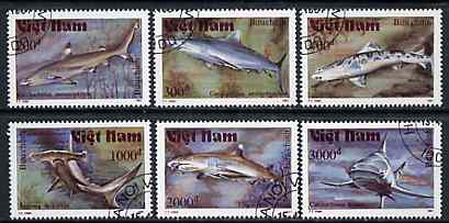 Vietnam 1991 Sharks set of 6 values (1 x 3000D value) very fine cto used, Mi 2309-13 & 2315*