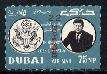 Dubai 1964 First Death Anniversary of Kennedy (opt'd 22 November) as SG 133 but rouletted, unmounted mint