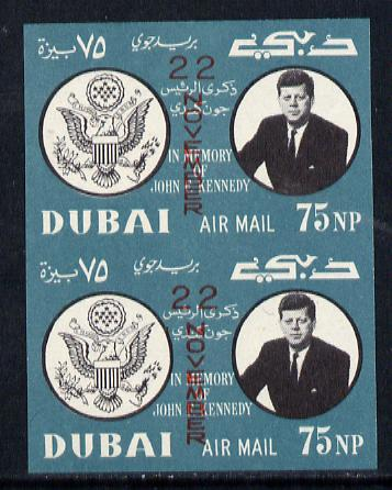 Dubai 1964 First Death Anniversary of Kennedy (opt'd 22 November in red) imperf pair unmounted mint (as SG 133)