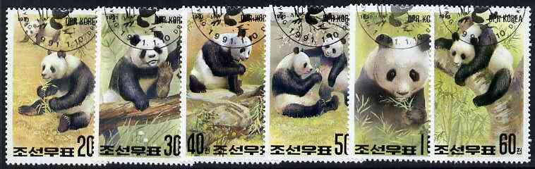 North Korea 1991 Phila Nippon 91 Stamp Exhibition (Giant Pandas) complete set of 6 very fine cto used, SG N3019-24*