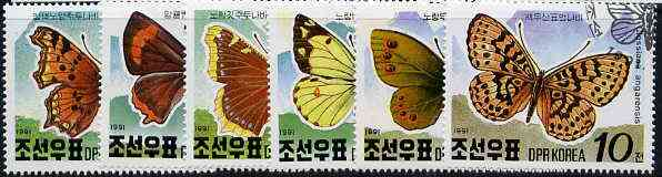 North Korea 1991 Alpine Butterflies complete set of 6 very fine cto used, SG N3034-39*
