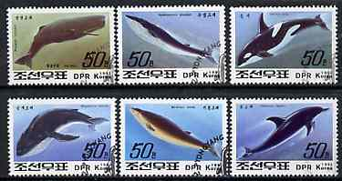 North Korea 1992 Whales & Dolphins complete set of 6 fine cto used, SG N3208-13*