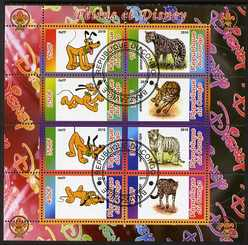 Congo 2010 Disney & Big Cats perf sheetlet containing 8 values with Scout Logo fine cto used