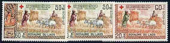 Laos 1967 Tenth Anniversary of Laotian Red Cross complete set of 3 unmounted mint, SG 219-21*