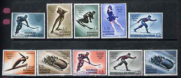 San Marino 1955 Cortina Winter Olympic Games unmounted mint set of 10, SG 496-505, Mi 535-44